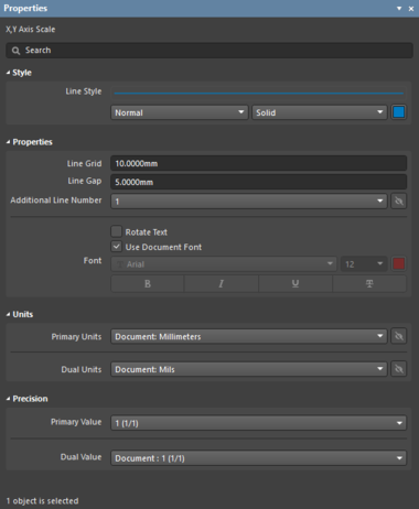 The X, Y Axis Scale object default settings in the Preferences dialogand the X, Y Axis Scale mode of the Properties panel.