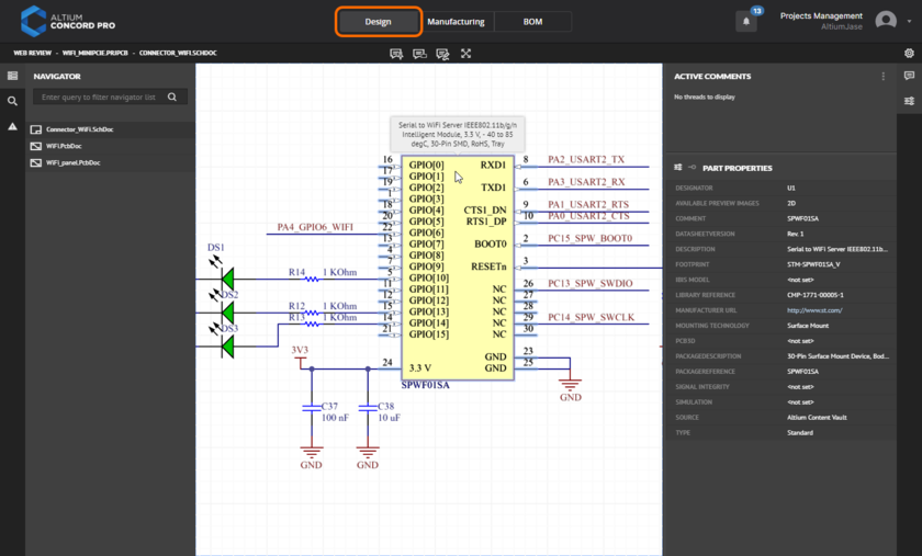 The Design view utilizes Altium's Web Review functionality to provide an immersive and interactive experience for reviewing the source schematic and PCB documents in your design project. Shown here is a schematic - hover over the image to see the PCB.