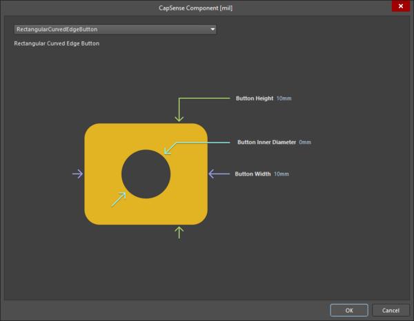 CapSense Component dialog - RectangularCurvedEdgeButton sensor type