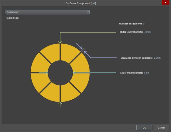 CapSense Component dialog - RadialSlider sensor type