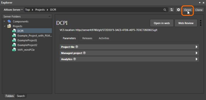 Открытие управляемого проекта через панель Explorer Altium Designer.