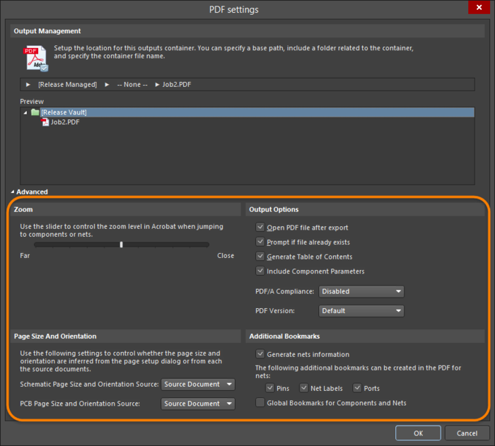 More detailed options are available with the dialog in Advanced mode.