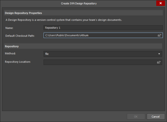 Create SVN Design Repository dialog