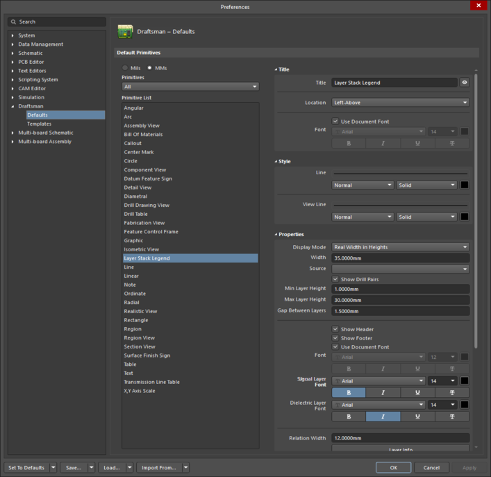 The Layer Stack Legend default settings in the Preferences dialogand the Layer Stack Legend mode of the Properties panel