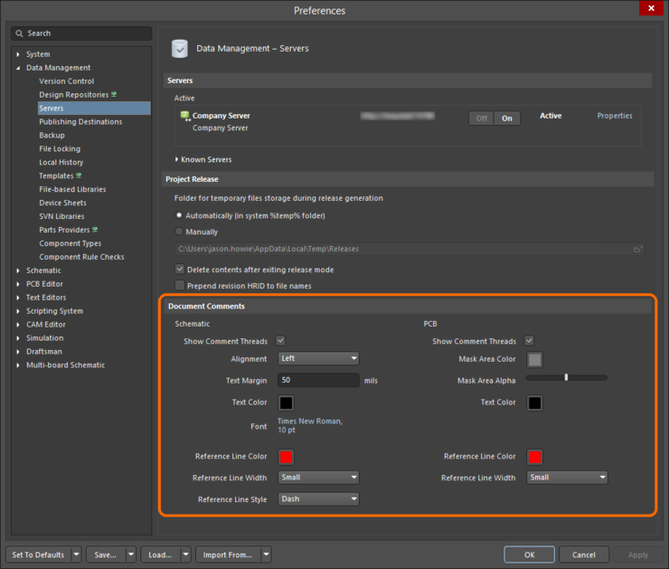 Control the appearance of comments in the editor as part of your Altium Designer preferences.