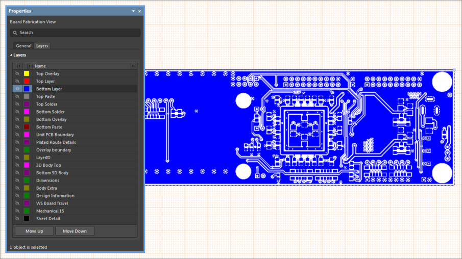 Example Board Fabrication View, showing how layers are configured