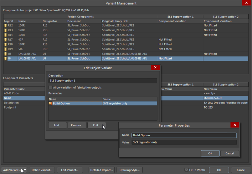 Variant Management dialog, adding variant parameters