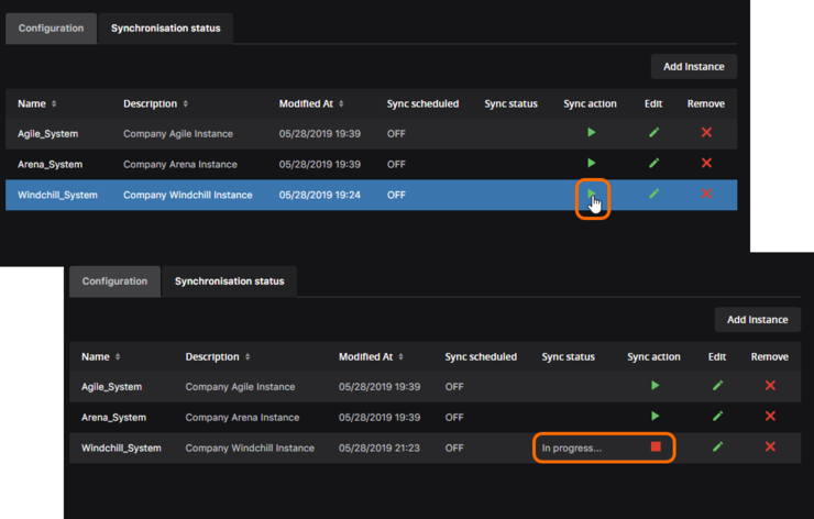 Component synchronization in progress between Concord Pro and the indicated enterprise system instance.