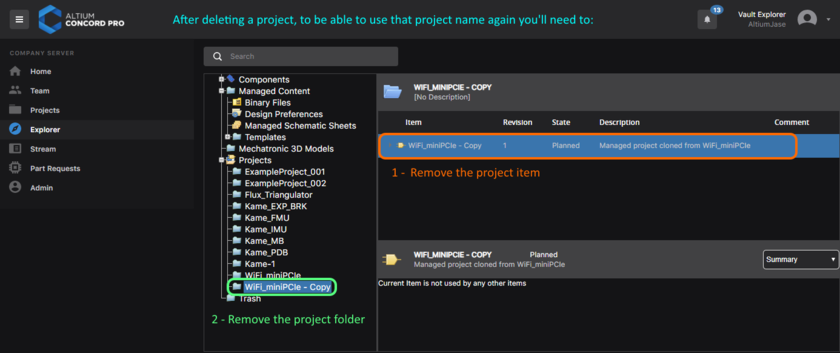 To be able to reuse a project name again, you must delete the project item for the project you have just deleted, followed by its folder.