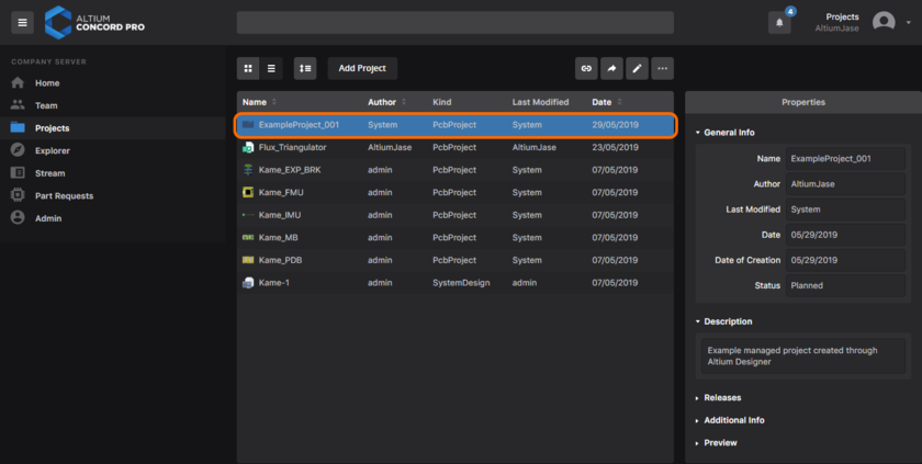 The newly-created project, evident on the Projects page of Altium Concord Pro's browser interface.