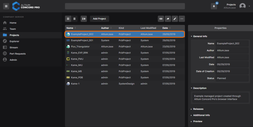 The newly-created project, evident back on the Projects page of Altium Concord Pro's browser interface.