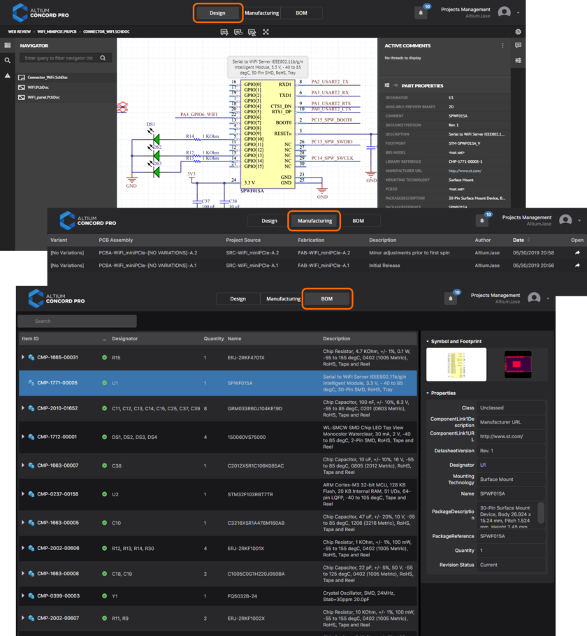 Accessing the CAD-centric Projects Management page for a project. Here, the Design, Manufacturing and BOM views of the interface are shown. The Manufacturing view provides further access to a Manufacturing Portal, from which a manufacturing Build Package can be downloaded.