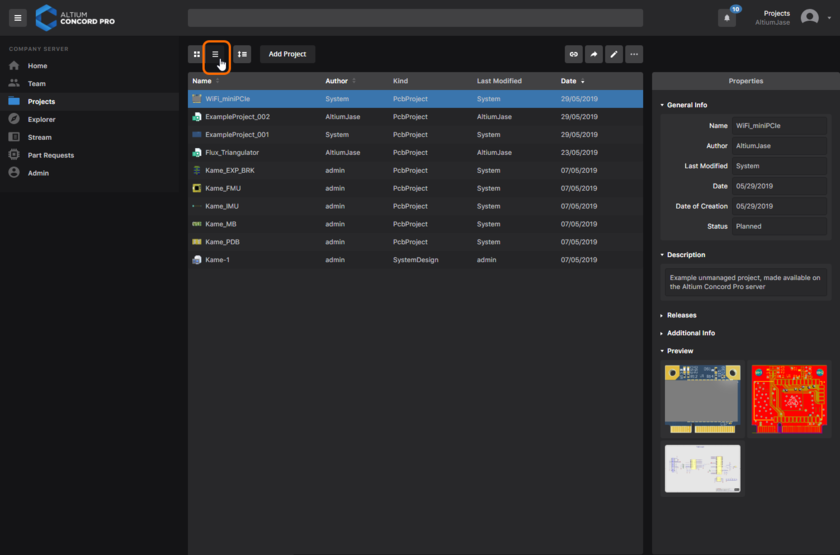 The Projects page of Concord Pro's browser interface - command central for working with your managed projects. Here, the detailed list mode for the page is shown. Hover the mouse over the image to see the project preview mode.