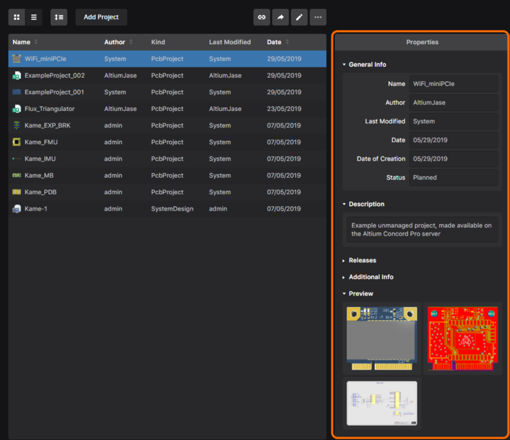 Access more detailed information for the currently selected project in the Properties pane.