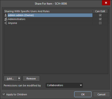 The Sharing Access for an Item iteration of the Share For dialog