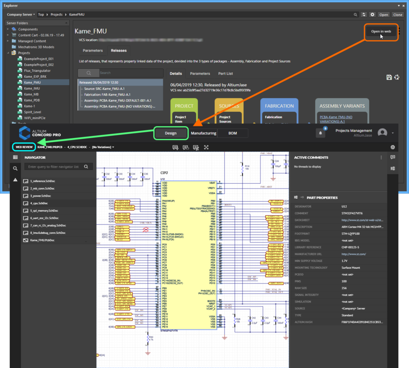 Accessing the CAD-centric Projects Management page for a project from Altium Designer's Explorer panel. Web Review functionality is presented through the page's Design view.