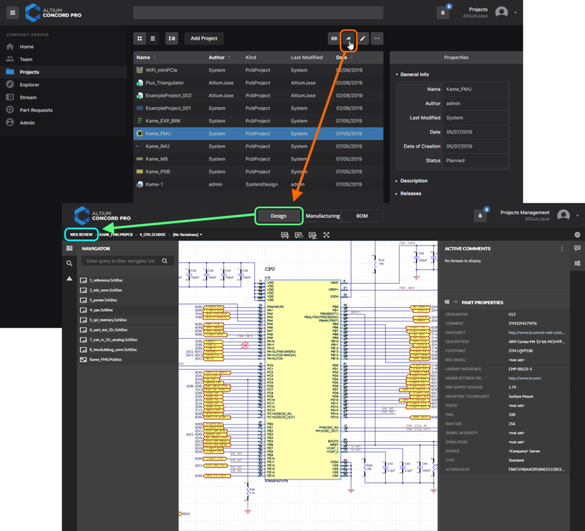 Accessing the CAD-centric Projects Management page for a project from the Projects page of Concord Pro's browser interface. Web Review functionality is presented through the page's Design view.