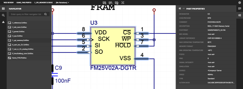An example of cross-probing in action. Here, the part U3 is selected on a source schematic document. Hover over the image to see the result of the cross-probe, whereby the corresponding component U3 is selected on the PCB document.