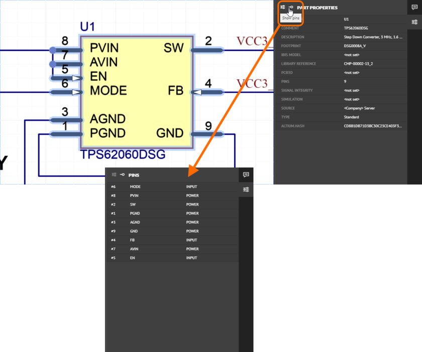 For a selected schematic part, switch between viewing the part's properties, and its pins.