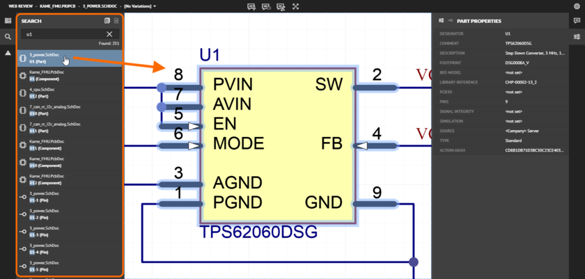 The Search pane facilitates powerful searching of your design project to find any object contained on a source schematic or the PCB.