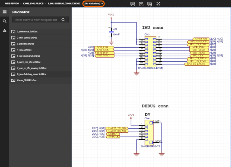 The interface caters for variants. By default, the base design ([No Variations]) will be presented (shown here). Use the highlighted control to switch to a different variant (hover over the image to see an example).