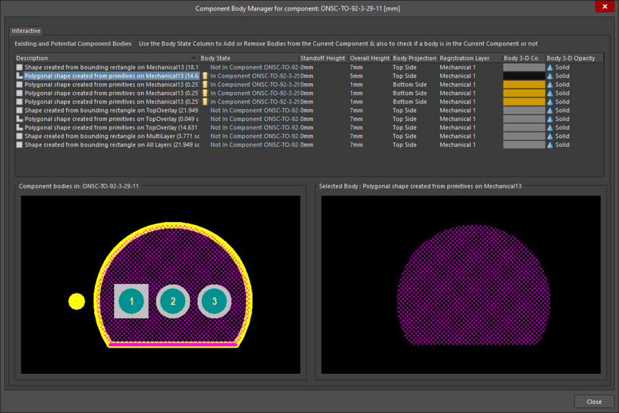 Component Body Manager dialog being used to create 3D Body objects for a TO-92 transistor, based on the footprint