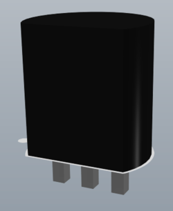 TO-92 transistor 3D model created from 3D Body objects, first image