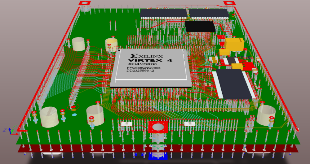 Multi-layer PCB, exploded 3D view