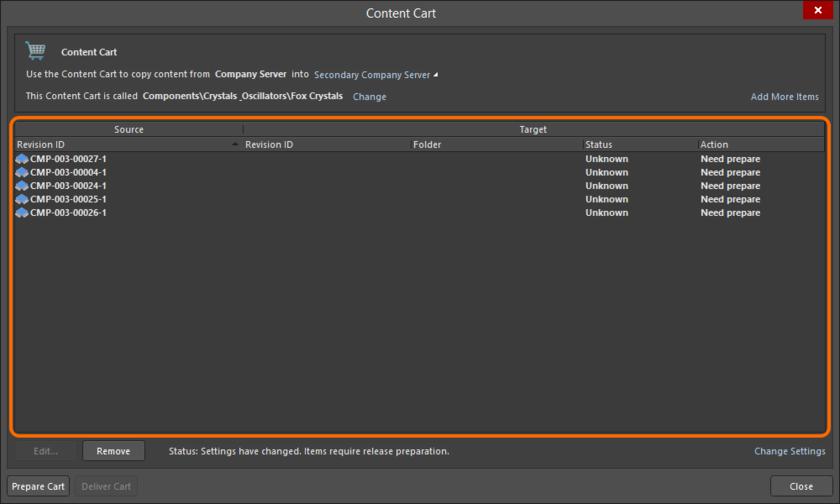 Главная таблица получения, со списком всех выбранных на получение из исходного сервера ревизий объектов.