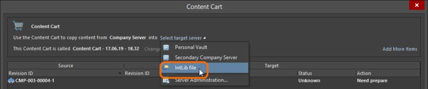 Определение файла IntLib в качестве цели Content Cart.