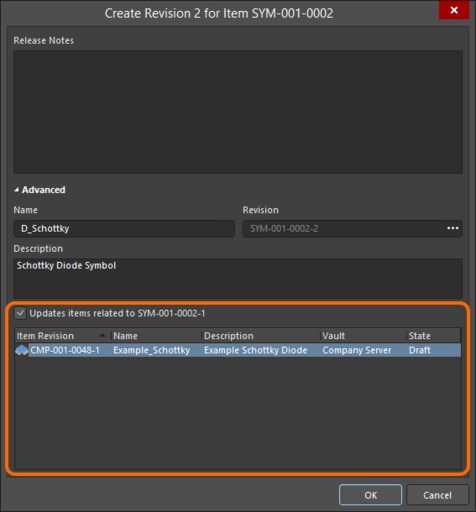 Accessing the option to update related Component Item revisions, that are referencing the Symbol Item being re-released.