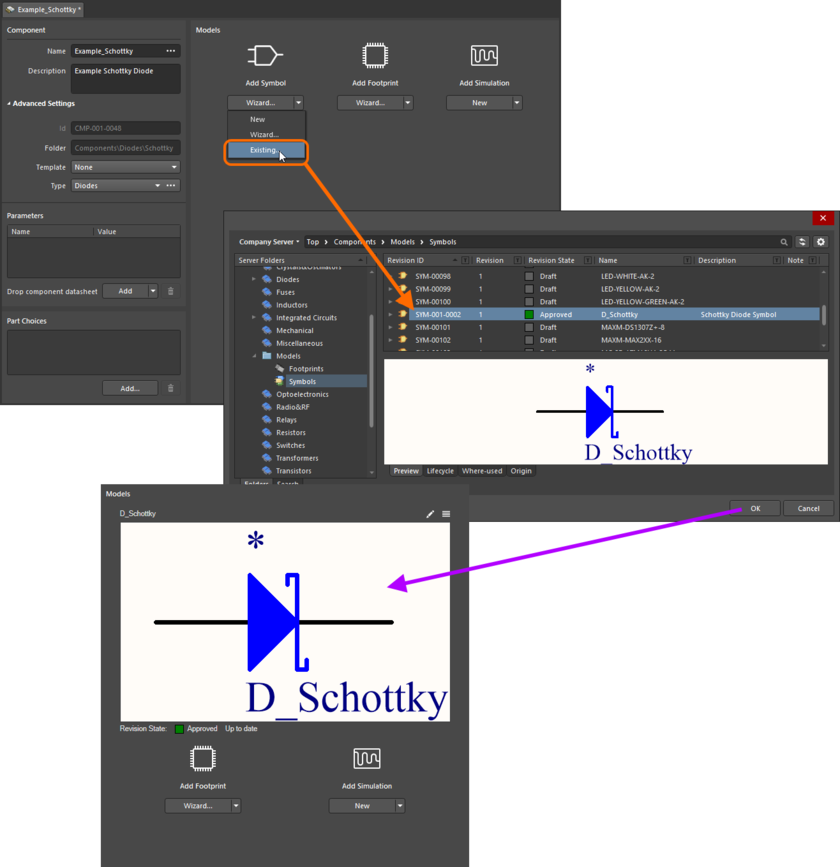 Example of referencing a revision of a Symbol Item as a model link, when direct editing a revision of a Component Item (managed component) using the Component Editor in its Single Component Editing mode.