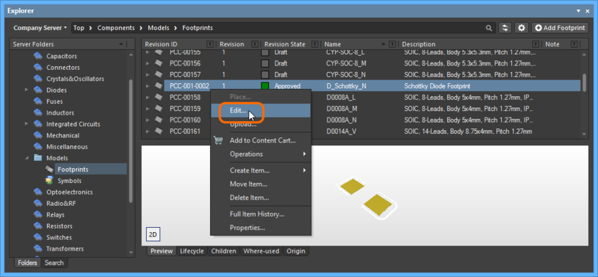 Accessing the command to launch direct editing of an existing revision of a Footprint Item.