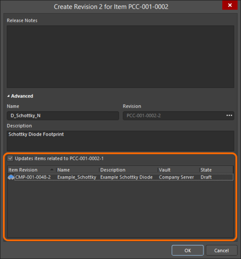 Accessing the option to update related Component Item revisions, that are referencing the Footprint Item being re-released.