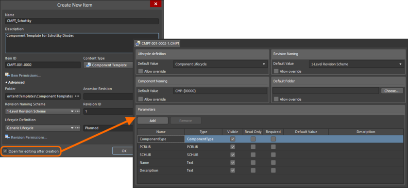Example of editing the initial revision of a Component Template Item, directly from the managed content server - the temporary Component Template Editor provides the document with which to define your component template.