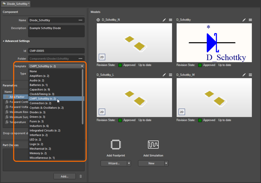 Quickly linking a Component Template Item from a menu of all available templates, when editing the revision of a Component Item using the Component Editor in its Single Component Editing mode.