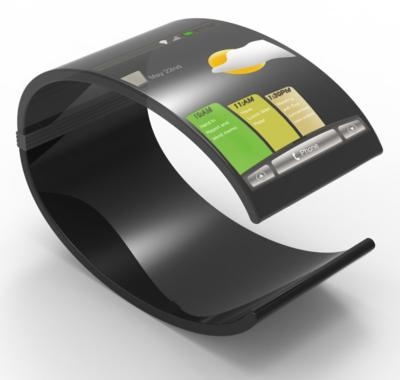 Concept image, curved electronic bracelet