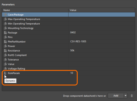 Example Item level parameter that has been added to a Component Item, and available to its revisions.