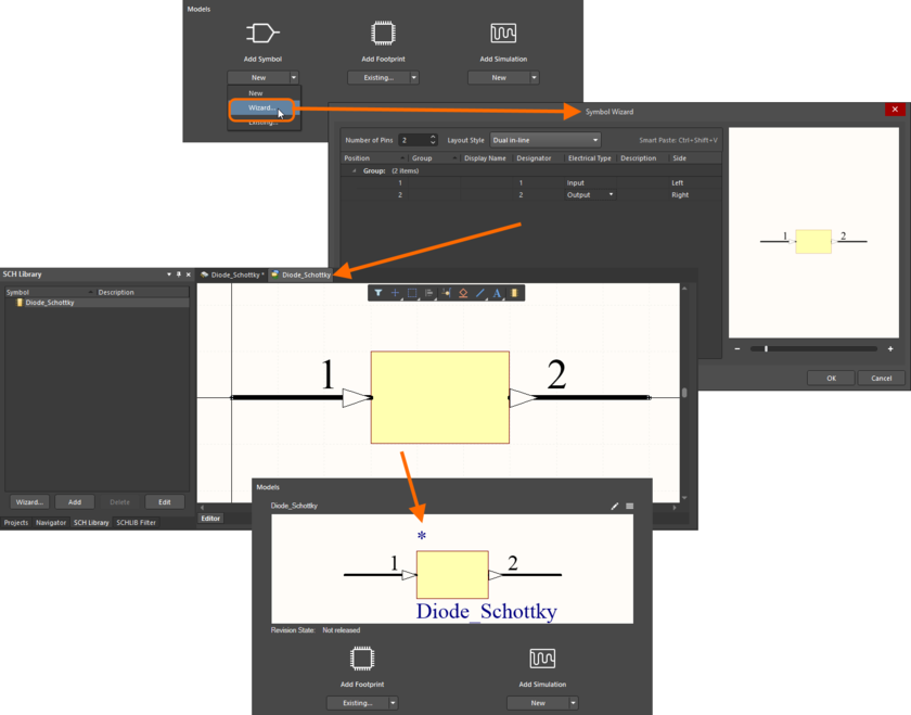 Example using the Symbol Wizard to create the required symbol for the component being created/edited. Hover over the image to see an example of using the IPC Compliant Footprint Wizard to create a footprint model for the component.