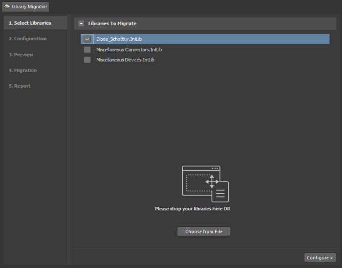 The Library Migrator view - the user interface to the component migration process.