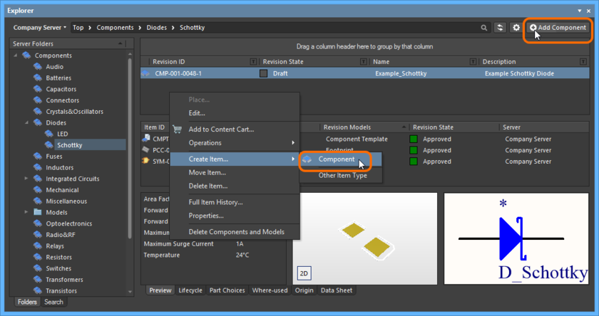 Accessing Item-less component creation mode from within the Explorer panel. The current folder must be of type Components.