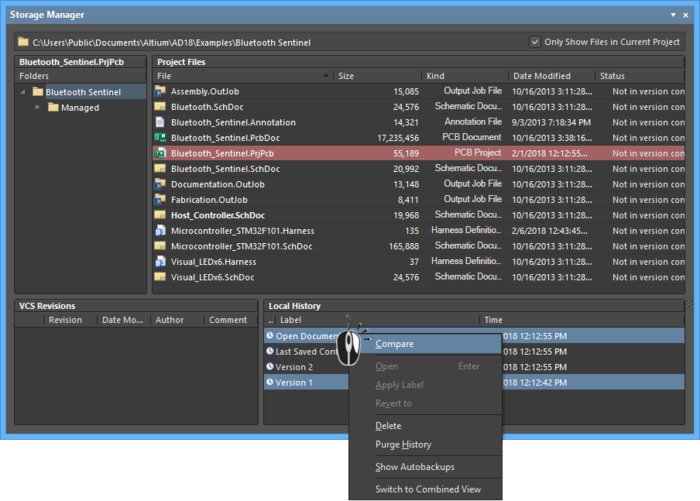 Storage Manager panel, comparing selected files via the right-click menu