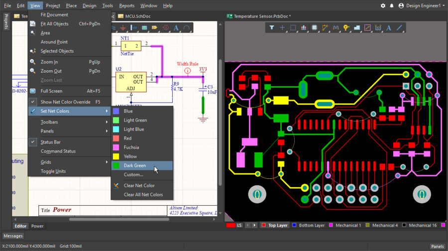 Image showing a schematic and PCB side by side, showing how color can be applied to nets in both editors
