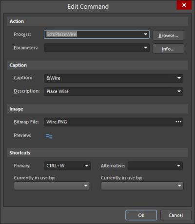 ショートカットを編集、または追加するには、Ctrlを押しながらメニュー、またはツールバーのエントリーをクリックしてEdit Commandダイアログを開きます。
