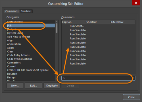 Customizing Editorダイアログでは、すべてのコマンドとショートカットを表示できます。コマンドをすばやく見つけるにはフィルタを使用します。