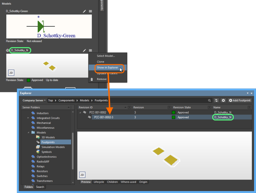 Example browsing to the revision of the model Item in the Explorer panel.