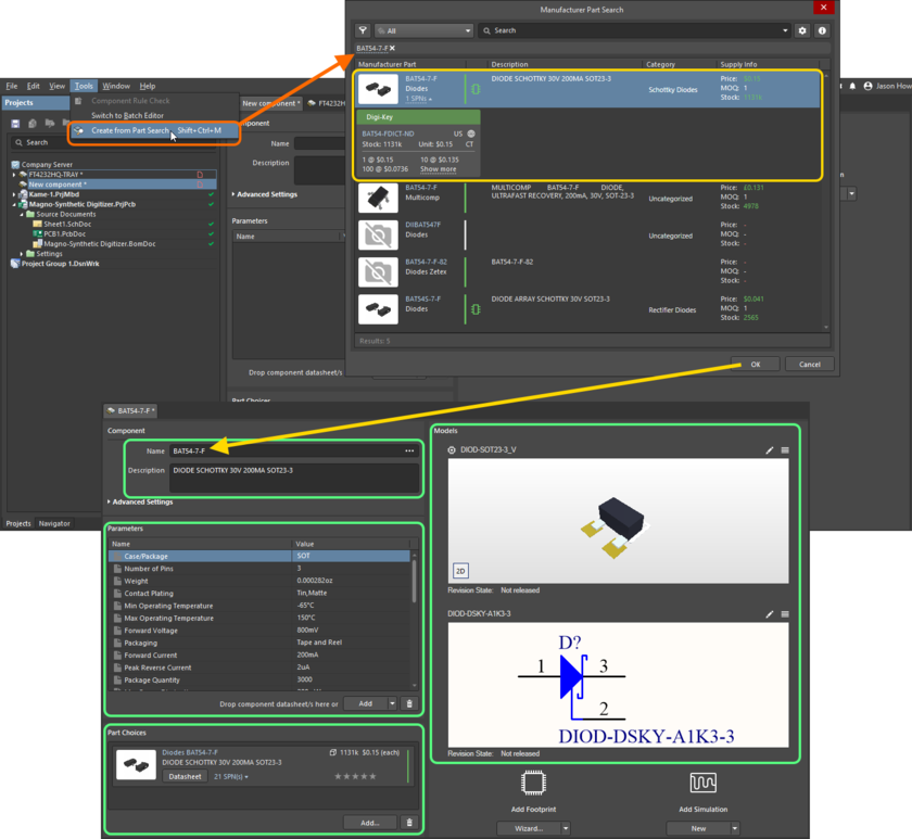 Use the Manufacturer Part Search dialog to find the required manufacturer part, select it, then click OK. The image shows all data for that part being brought into the Component Editor.
