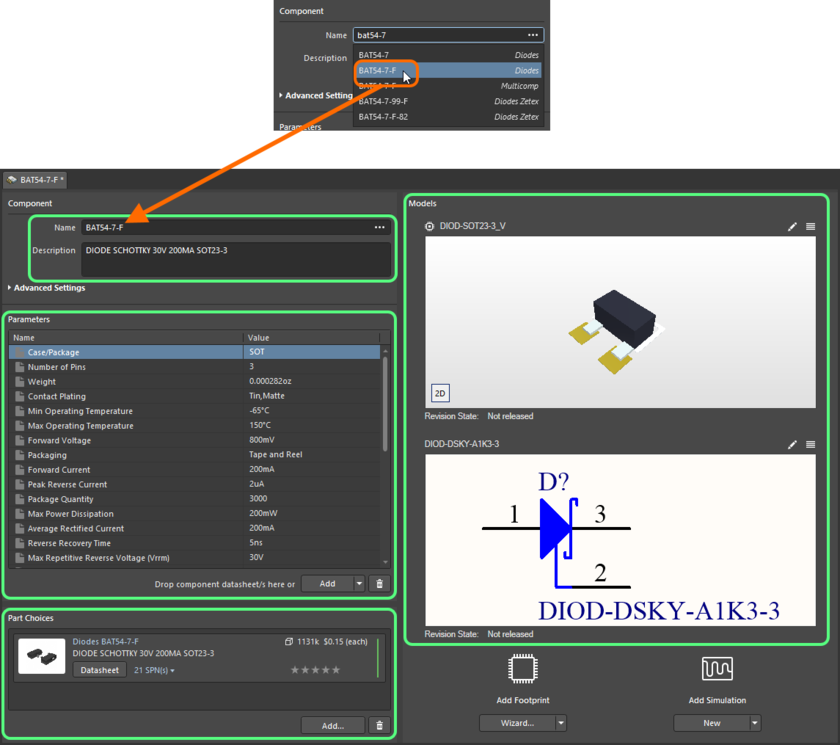 Start typing the name of the required manufacturer part - and select the relevant entry from the convenient pop-up listing. The image shows all data for that part being brought into the Component Editor.