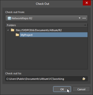 Check Out dialog, used to check a project out from the repository
