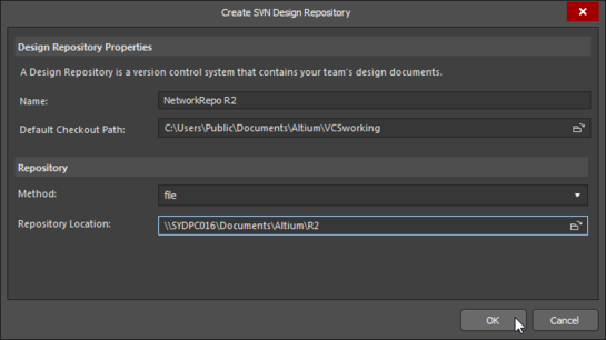 Create SVN Design Repository dialog, use to create a new repository, specifying location, connection method & working folder